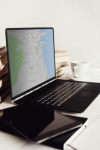 komputer, mapa, sprzęt, sent